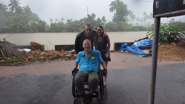 Dave caught in a monsoon with his PA in Goa