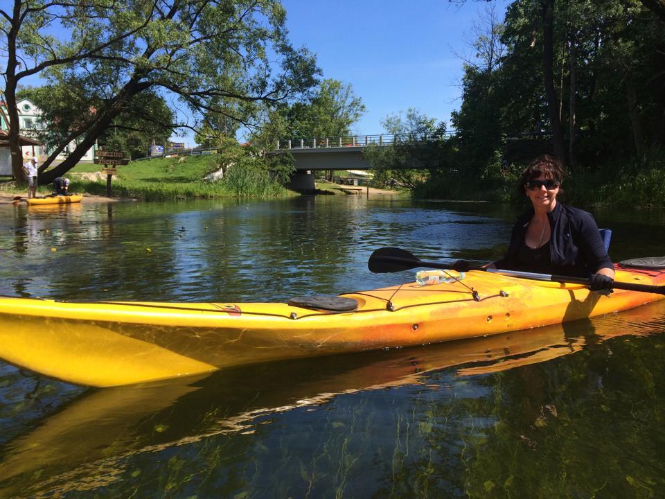 Michelle enjoying herself canoeing