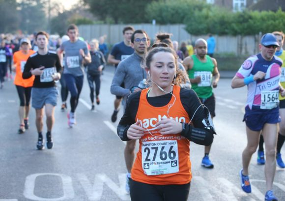 Melanie taking part in the Hampton Court half marathon to raise funds for Back Up