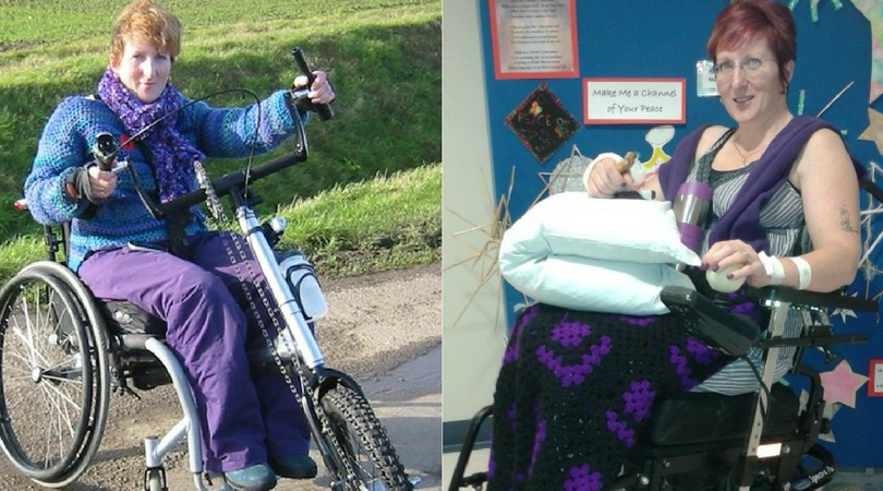 Sharon posing on her bike and shortly after being discharged from hospital