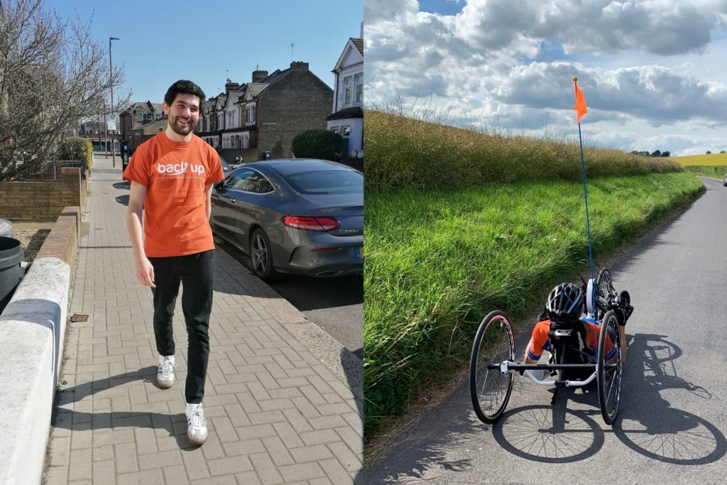 A runner on the left and a handcyclist on the right