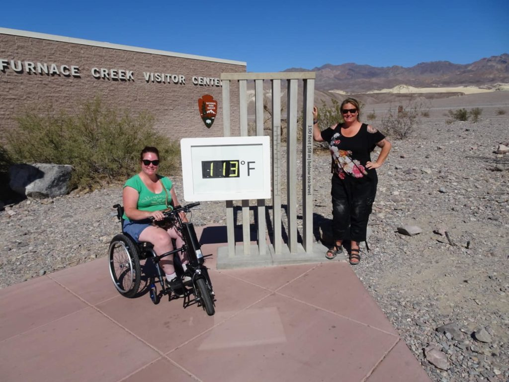 Kim is using a motorised wheelchair attachment to explore the deserts of California