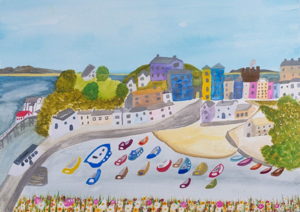 A lovely landscape watercolour painting of a coastal scene by Rachel, The Wonky Artist