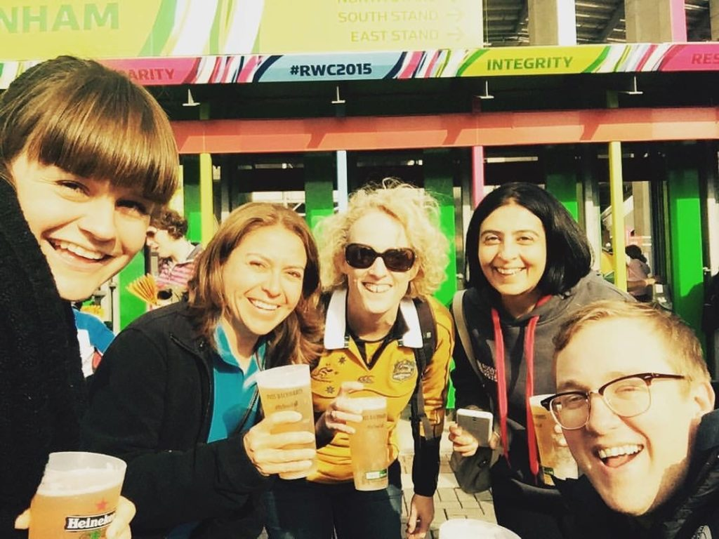 Ali in the center with our outreach and support coordinator Luke and a few others enjoying a drink at the rugby world cup