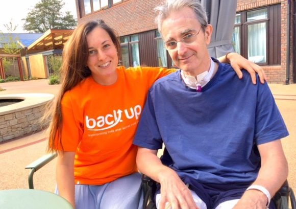 Our Back Up champion Emma sat with her father while he was in recovery