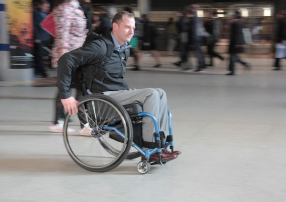Wheelchair user in an urban environment