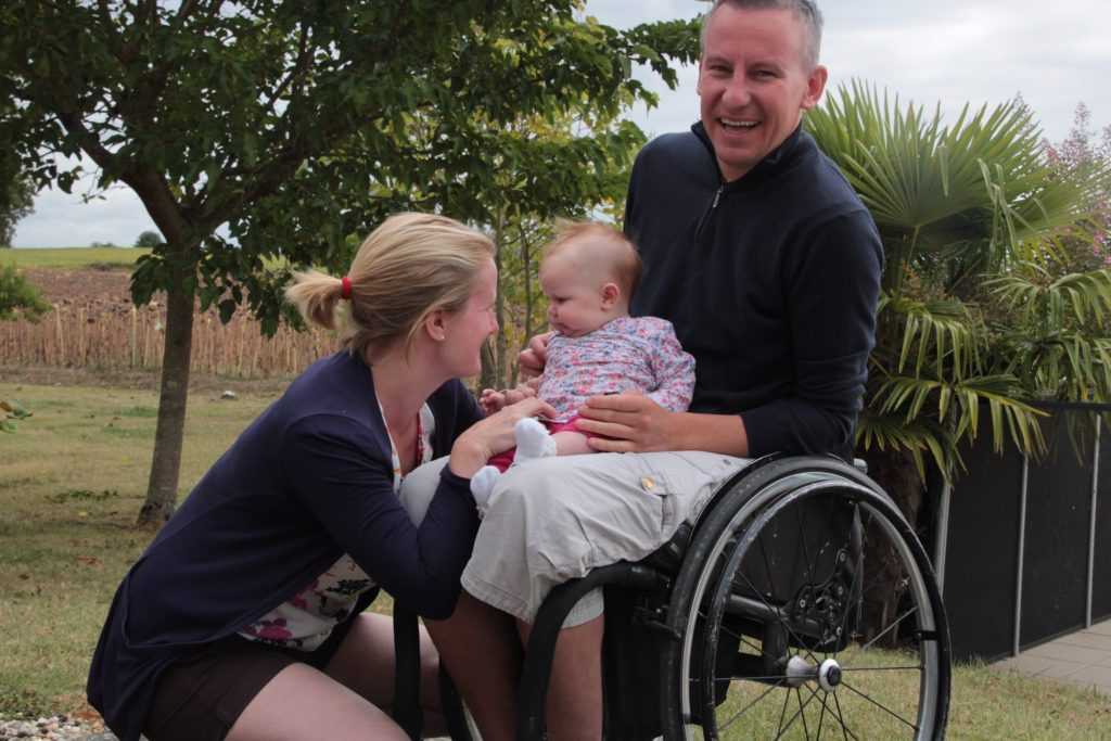 Wheelchair user and family