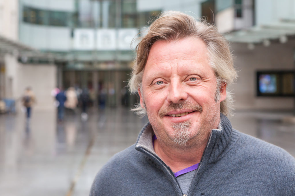Photo of Charley Boorman outside the studio where we recorded our BBC Radio 4 charity appeal