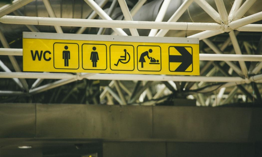 """a disabled bathroom sign along with several other """"WC"""" signs"""
