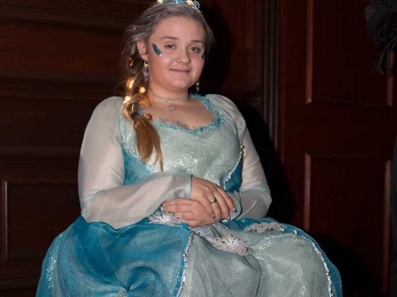 Bethany wearing an Elsa from Frozen costume at our 2017 Back Up Ball