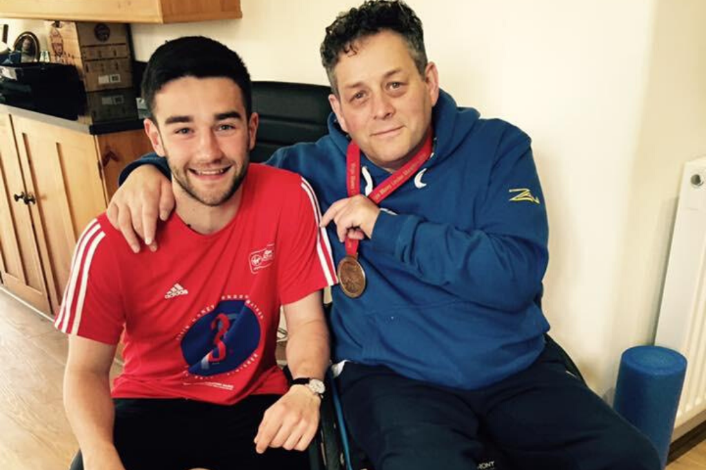 Tim, a wheelchair user, next to his nephew charlie, who will be taking on the camino challenge in his memory