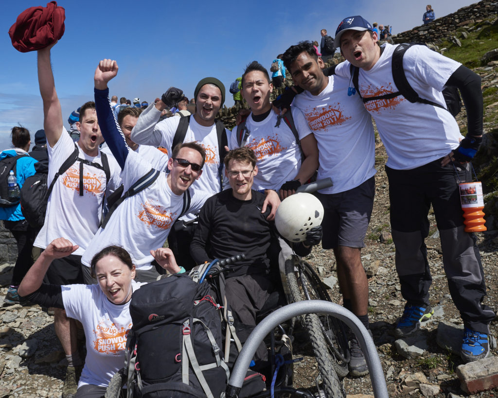 Dan and his team celebrating completing the Snowdon Push