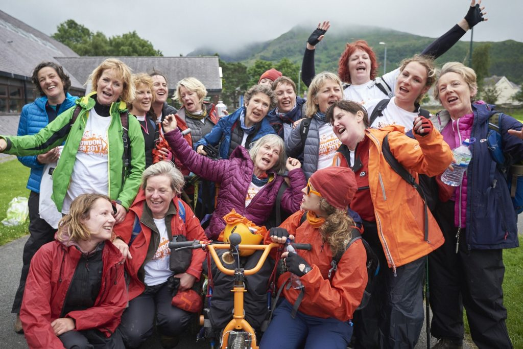 Rosie and her team at the Snowdon Push challenge celebrating their finish