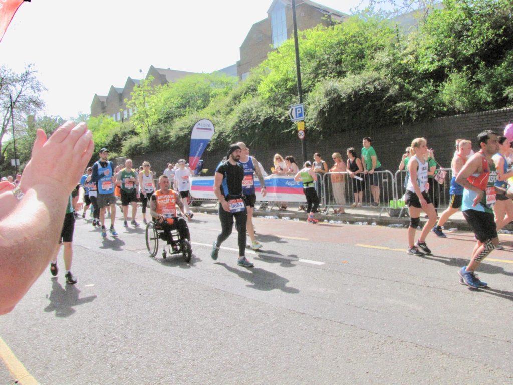 Andrew pushing in this years London Marathon