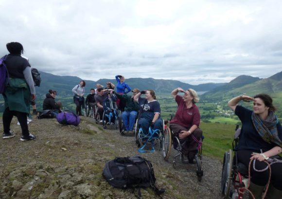 Merryn and several other coursemates exploring a hillside in the Lake District