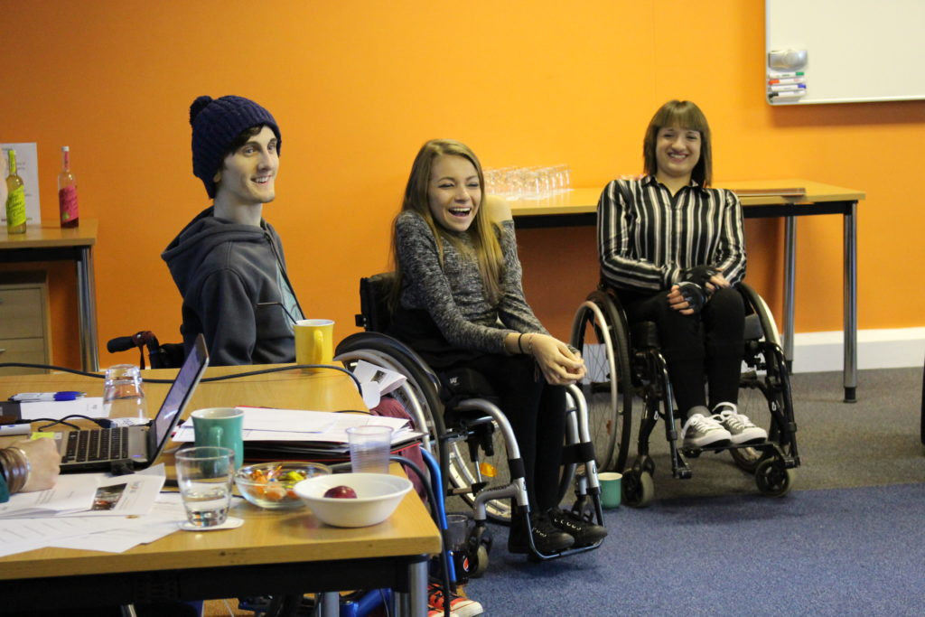 Group of young volunteer wheelchair users