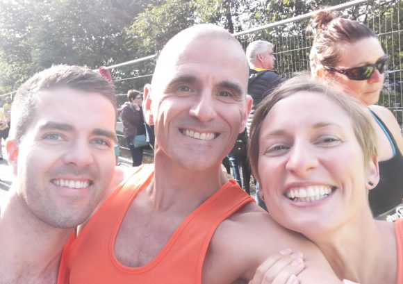 Great North Run competitors take a smiling selfie