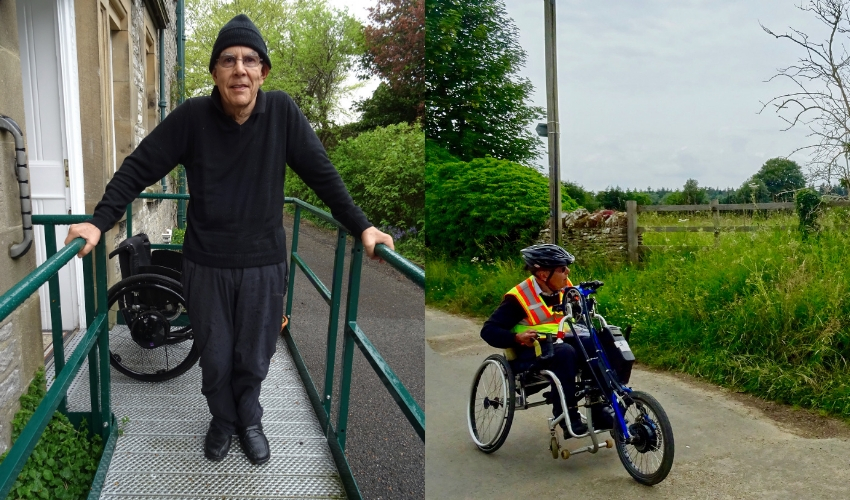 A photo of John standing on a ramp, and one of him handcycling in the countryside - featured image from his Independence over time story