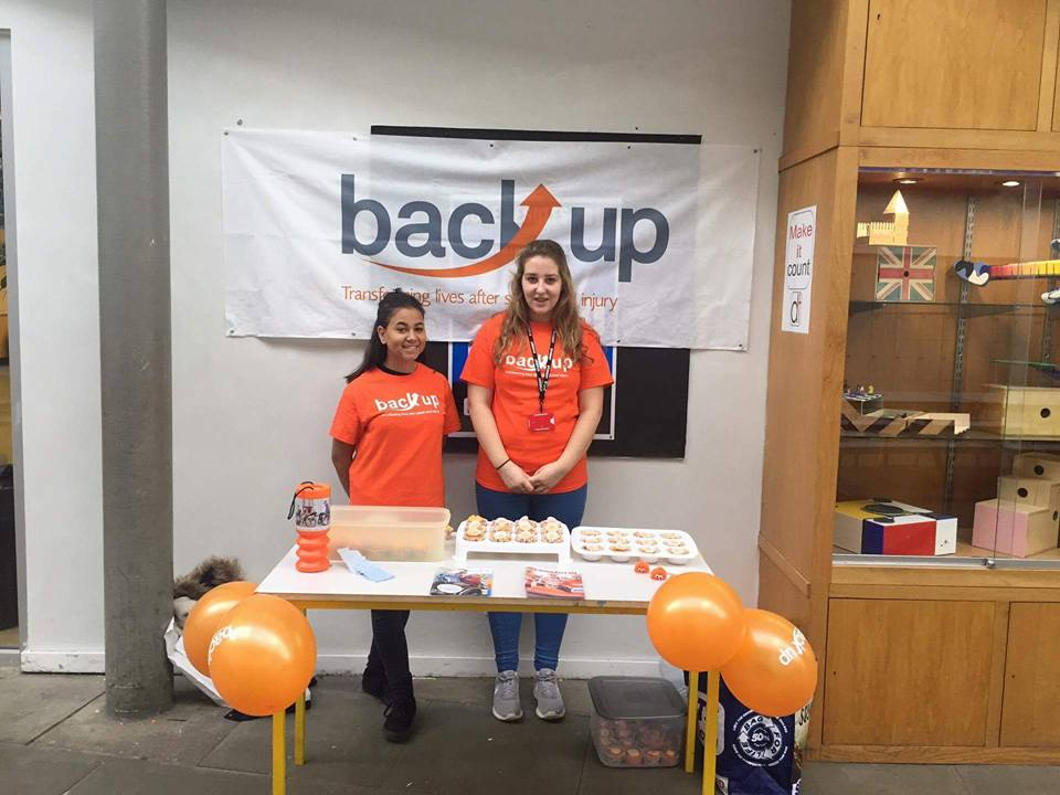Katie and a friend hold a Bake sale for Back Up