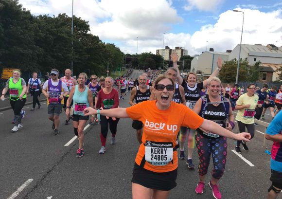 Kerry Clover running for Back Up in Reading half marathon