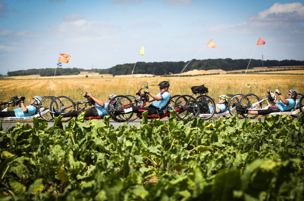 Hand cyclists taking on the London to Paris ride