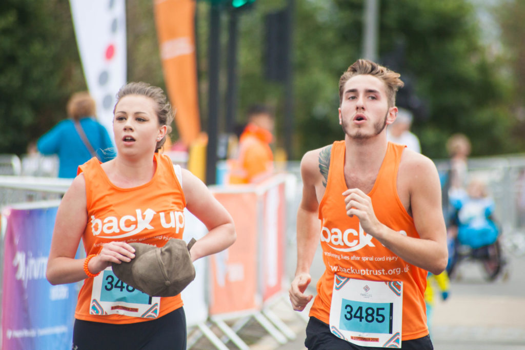 Two runners taking part in the Great North Run