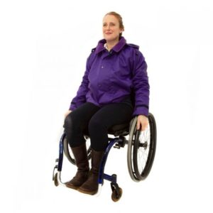 Wheelchair user wearing the purple waterproof jacket