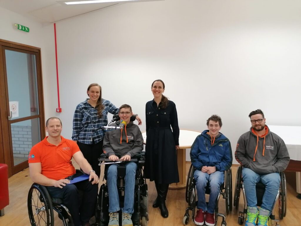 Our year in review - Meeting our wheelchair skills trainers with Back Up's Outreach and Support Manager, Andy (far left) and Back Up's Outreach and Support Coordinator for Scotland, Rich (far right)