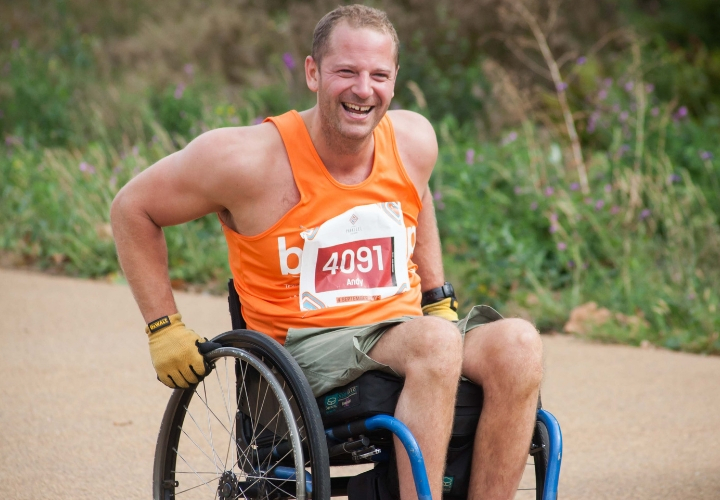 Wheelchair user competitor taking part in the Reading Half Marathon
