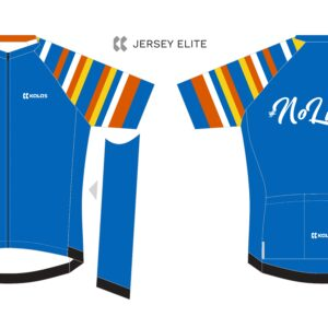 A design image of the front and back of Back Up's #No Limits cycling jersey