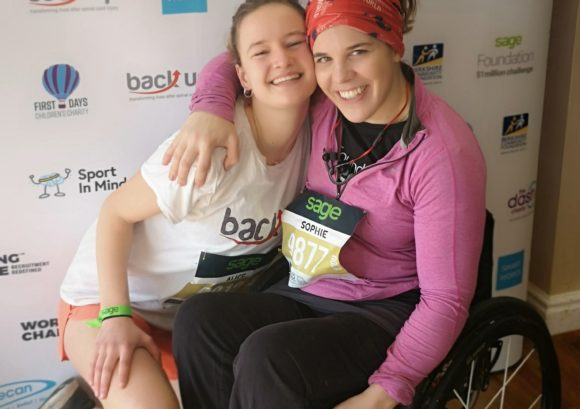 Alice and Sophie together before the Reading half marathon
