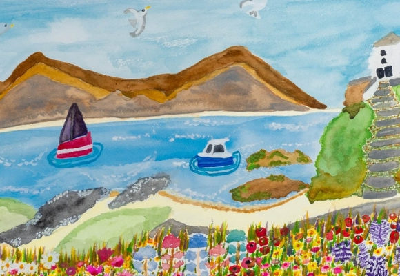 A watercolour painting of a seaside landscape by Rachel Smith The Wonky Artist