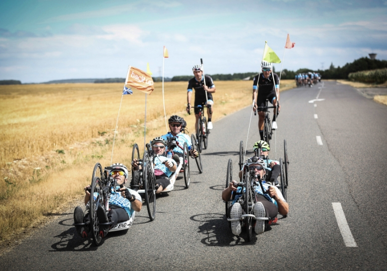 Our team of hand cyclists leading the way on the London to Paris ride