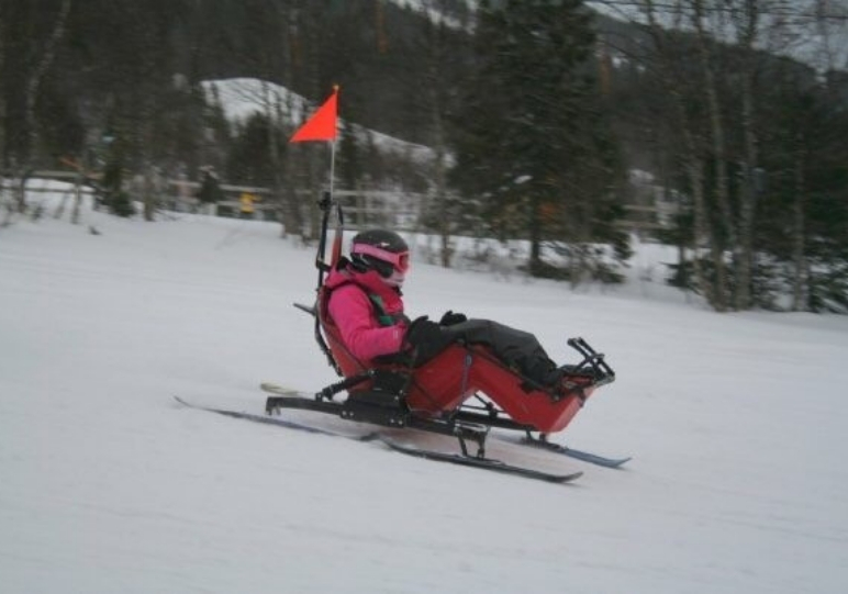 Kylie skiing on one of Back Up's ski courses
