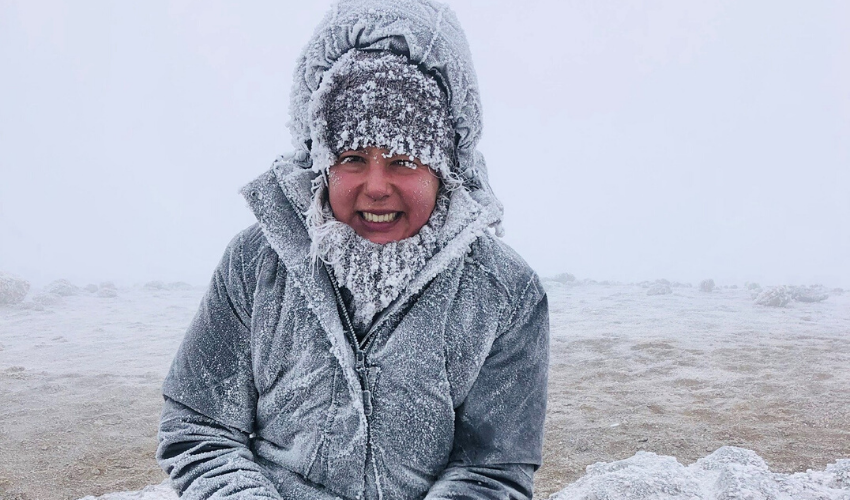 Sophie while climbing Kilimanjaro with a spinal cord injury