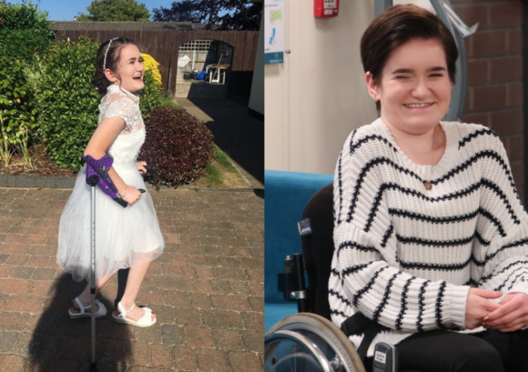 Daisy, a young person with an incomplete spinal cord injury who uses both a walking stick and a wheelchair to get around