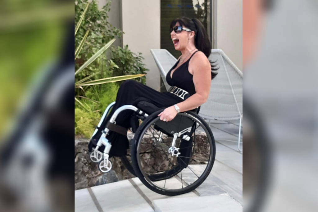 Michelle, an expert in spinal cord injury and sex, back wheel balancing.