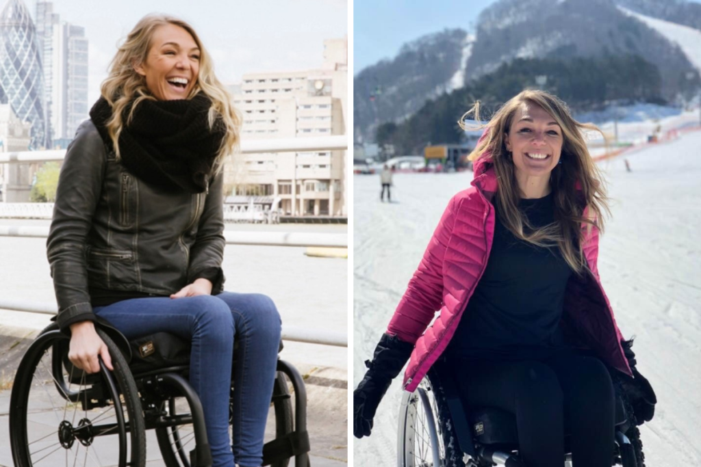 A pair of photos of our patron and Heels for Wheels creator Sophie Morgan living life to the full