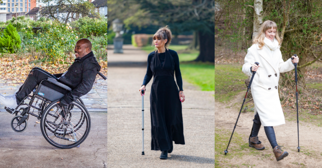 three people with an incomplete spinal cord injury - two who can walk with aids, and one wheelchair user