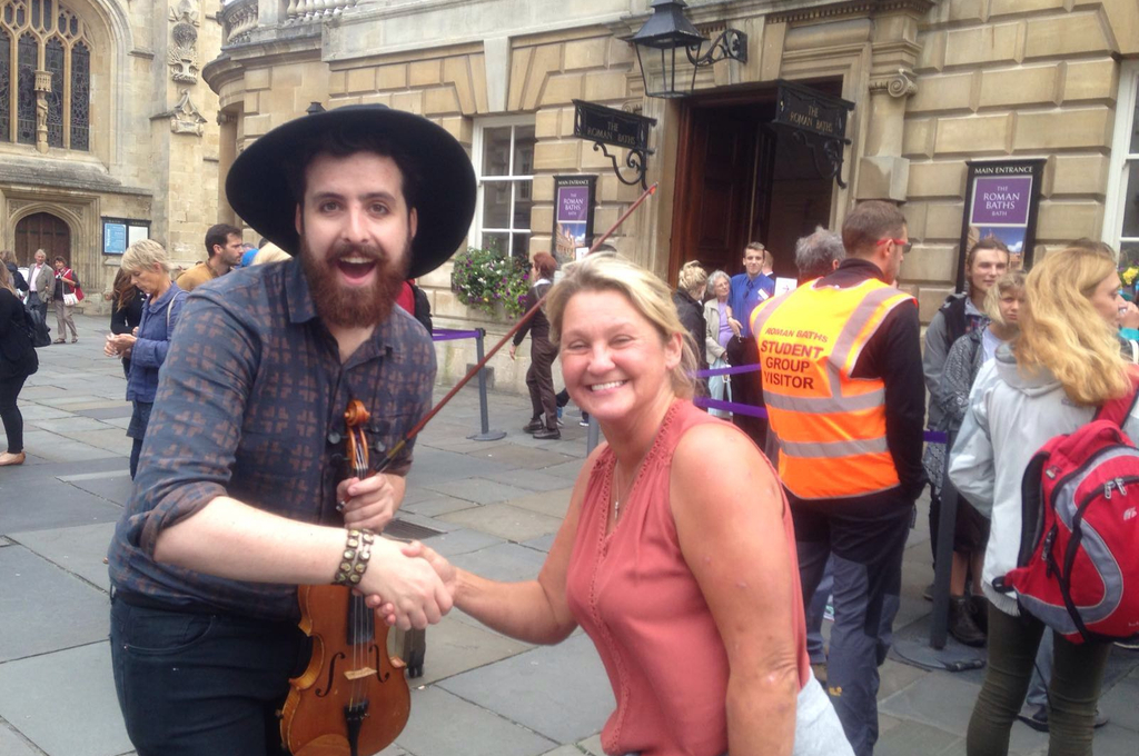 Michelle, this month's Back Up Star, posing with a busker on our Next Steps course