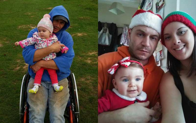 Photo of Matt with his family on right, and using his wheelchair in the park with his daughter on the left