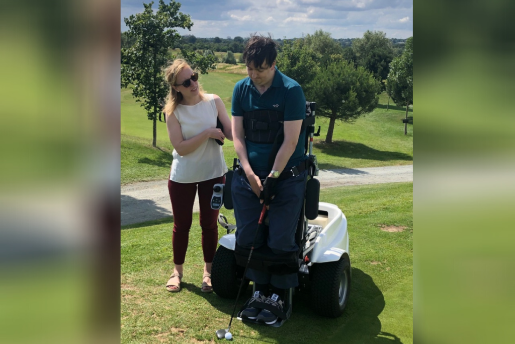 Annelore and Ed playing golf together - mentoring showed annlore that she adds value to Eds life.