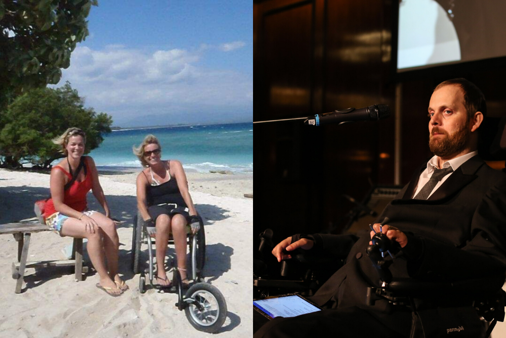 A photo of Melissa on a beach with her Personal Assistant, and Dom speaking at our annual City Dinner