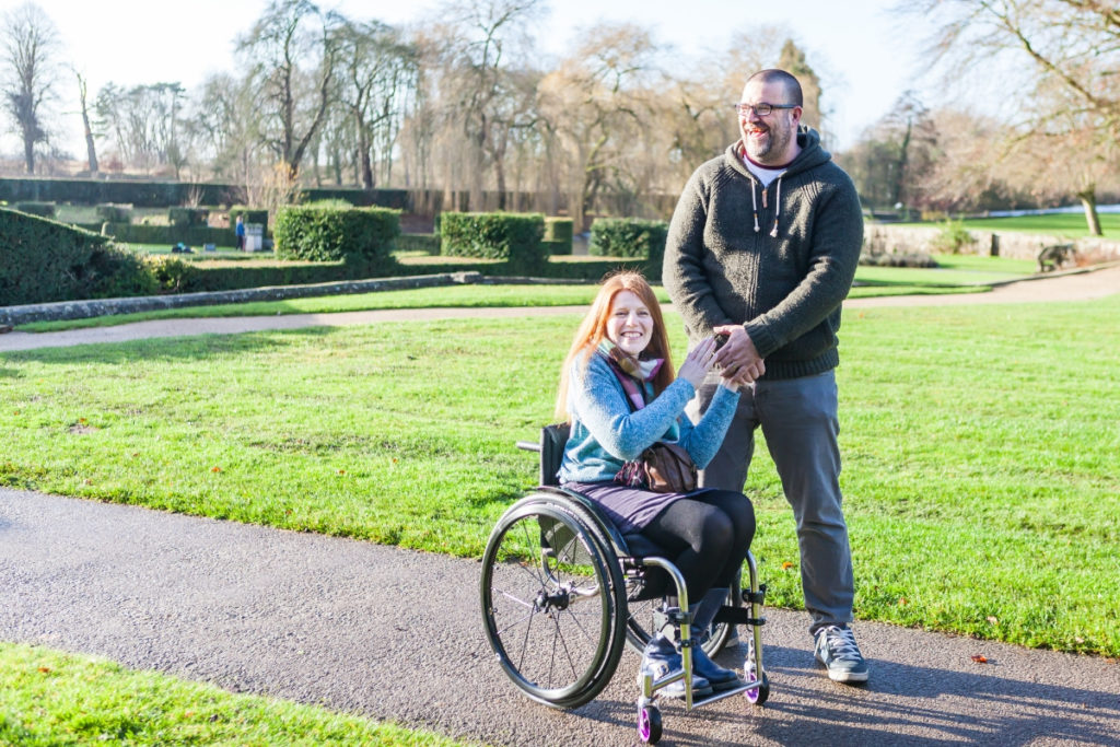 Richard, one of our family mentors, taking a walk through a park with his wife Zoe