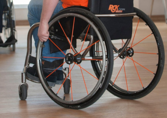 A close-up photo of a Back Up wheelchair skill trainer's chair