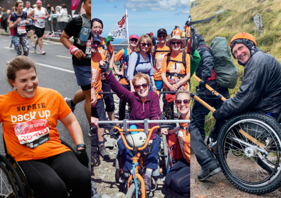Three of our fantastic fundraising challenge participants taking on the London Marathon, the Snowdon Push, and the Ben Nevis push