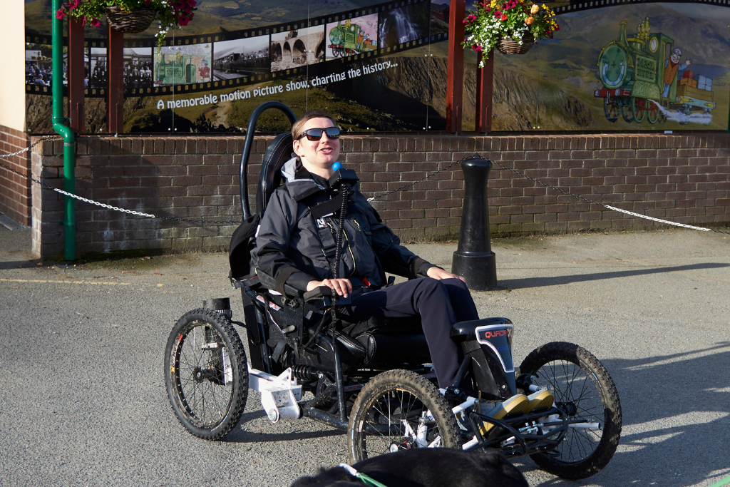 Peter, with his bespoke chin-controlled power chair