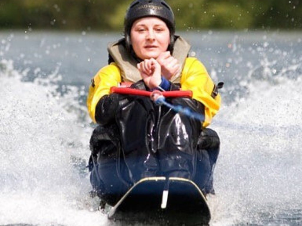 Kylie taking part in some adaptive water skiing