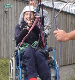 Sharon abseiling on the Back Up multi activity course