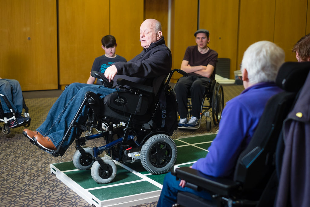 One of our wheelchair skills trainers leading a session